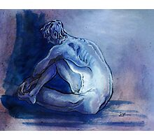 Meditative Male Nude in Blues (Drawing)- Photographic Print