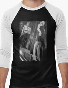 Shop dummy female mannequins black and white 35mm analog film photo Men's Baseball ¾ T-Shirt