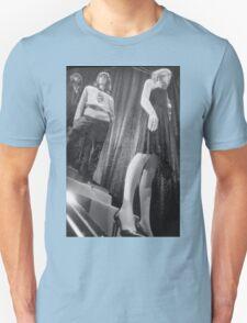 Shop dummy female mannequins black and white 35mm analog film photo Unisex T-Shirt