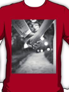 Groom holding hands with bride black and white wedding photograph T-Shirt