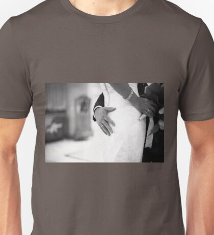 Groom holding bottom of bride black and white wedding photograph Unisex T-Shirt