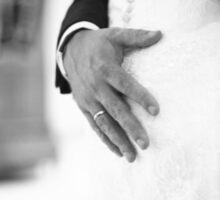 Groom holding bottom of bride black and white wedding photograph Sticker