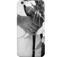 Bride and groom holding black and white wedding photograph iPhone Case/Skin