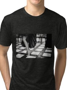 Sexy legs of female guest in party black and white wedding photograph Tri-blend T-Shirt