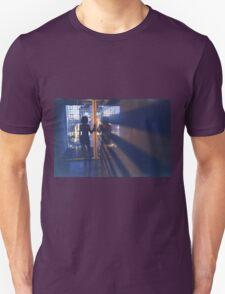 Slim young lady in hotel corridor analog film photo T-Shirt