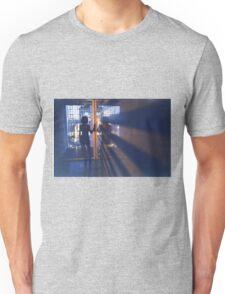 Slim young lady in hotel corridor analog film photo Unisex T-Shirt