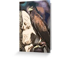 Stylized photo of a falcon sitting on leather gloved had of falconer Greeting Card