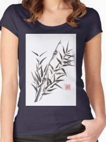 No doubt bamboo sumi-e painting Women's Fitted Scoop T-Shirt