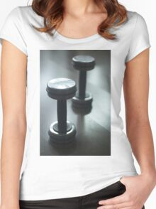 Dumbbell gym metal weights in gym health club Women's Fitted Scoop T-Shirt
