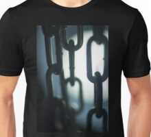 Steel chain links silhouette close-up at night Unisex T-Shirt