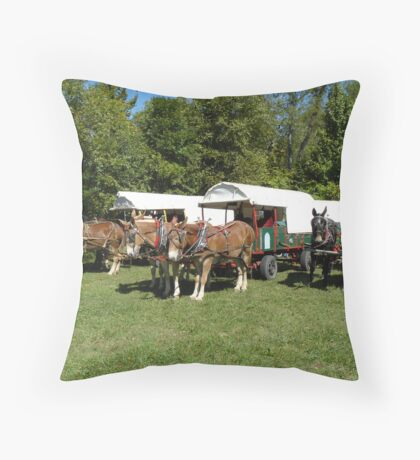 wagon train at lunch Throw Pillow