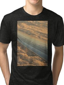 Airplane flying in sky wing in flight photo Tri-blend T-Shirt