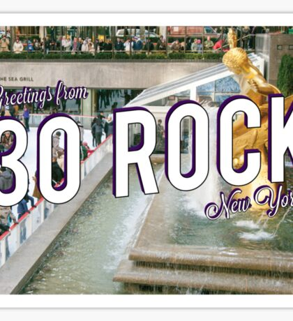 Vintage 30 Rock Postcard Sticker