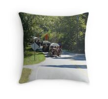 wagons on the road Throw Pillow