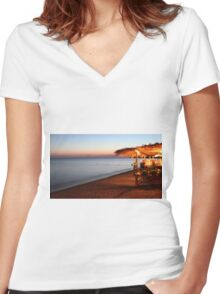Blue hour in Lesvos Women's Fitted V-Neck T-Shirt