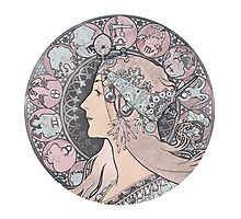 Alphonse Mucha Zodiac Goddess Photographic Print