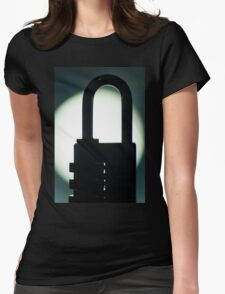 Combination code padlock silhouette photograph Womens Fitted T-Shirt