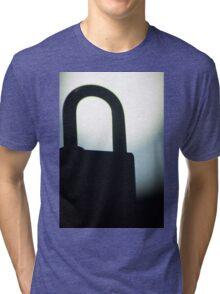 Combination code padlock silhouette photograph Tri-blend T-Shirt