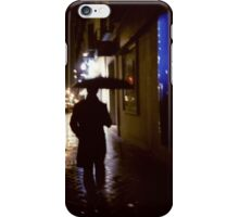 Man walking in street at night in rain color 35mm analogue photojournalism portrait photograph iPhone Case/Skin