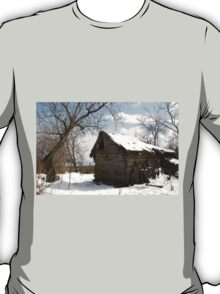 Rustic Winter Scene in Barda Romania T-Shirt