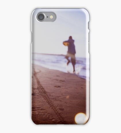 Boy running on beach square Lubitel lomo lomographic lomography medium format  color film analogue photo iPhone Case/Skin