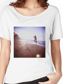 Boy running on beach square Lubitel lomo lomographic lomography medium format  color film analogue photo Women's Relaxed Fit T-Shirt