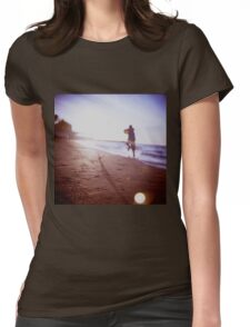 Boy running on beach square Lubitel lomo lomographic lomography medium format  color film analogue photo Womens Fitted T-Shirt