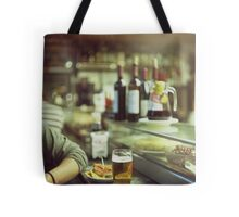Man tapas and glass of beer in Spanish bar square Hasselblad medium format  c41 color film analogue photo Tote Bag