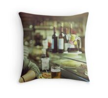 Man tapas and glass of beer in Spanish bar square Hasselblad medium format  c41 color film analogue photo Throw Pillow