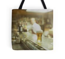 Glass of beer in Spanish tapas bar square Hasselblad medium format  c41 color film analogue photograph Tote Bag