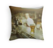 Glass of beer in Spanish tapas bar square Hasselblad medium format  c41 color film analogue photograph Throw Pillow