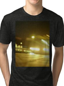 Bus in street at night square Hasselblad medium format  c41 color film analogue photograph Tri-blend T-Shirt