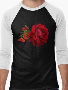 rose red Men's Baseball ¾ T-Shirt