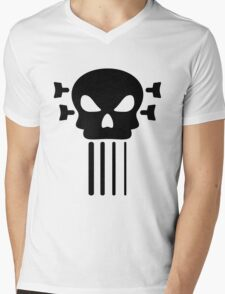 Bass guitar and skull Mens V-Neck T-Shirt
