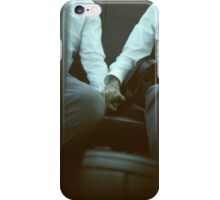 Gay wedding grooms hold hands in car c41 film fine art analog lgbt marriage photo iPhone Case/Skin
