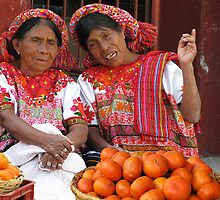 COLOR COORDINATED ORANGE SELLERS - GUATEMALA by Michael Sheridan