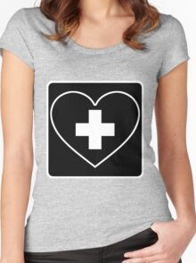 Get Well Soon, Sexy Nurse, Black, Heart, First Aid, Medical Women's Fitted Scoop T-Shirt