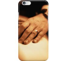 Bride and groom holding hands sepia black and white film silver gelatin fine art analog wedding photo iPhone Case/Skin