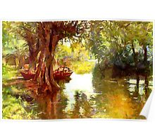 A Pleasure Boat Rests in a Shady Dell Poster