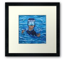 chris in pool no wall Framed Print