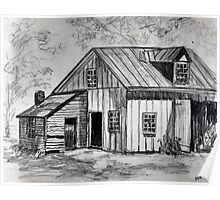 Barn Pencil Sketch Poster