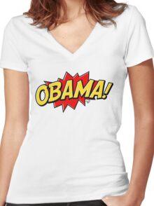 O-BAH-MAH! Women's Fitted V-Neck T-Shirt