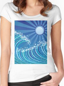 Sea waves Women's Fitted Scoop T-Shirt