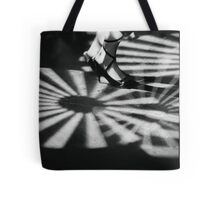 Feet of girl dancing in nightclub lights black and white silver gelatin 35mm film analog photograph Tote Bag