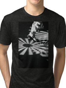 Feet of girl dancing in nightclub lights black and white silver gelatin 35mm film analog photograph Tri-blend T-Shirt