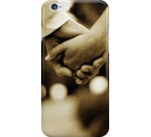 Bride and groom holding hands sepia toned black and white silver gelatin 35mm film analog wedding photograph iPhone Case/Skin