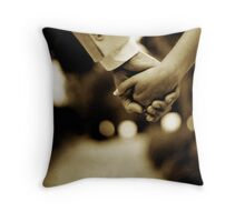 Bride and groom holding hands sepia toned black and white silver gelatin 35mm film analog wedding photograph Throw Pillow