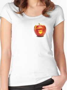 Apple I Love You Women's Fitted Scoop T-Shirt