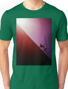 Red purple diagonal surrealist photo of people falling off earth square Hasselblad medium format film analogue Unisex T-Shirt