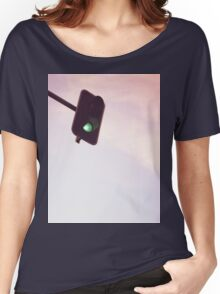 Green traffic go light signal and sky still life blue square Hasselblad medium format film analog photograph Women's Relaxed Fit T-Shirt